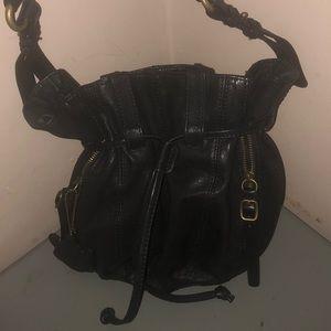 Andrew marc New York purse black leather drawstrin